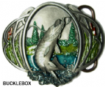 FISH-PIKE (OVAL) Belt Buckle + display stand
